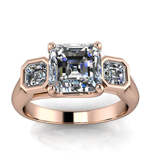 Three Stone Asscher Cut Engagement Ring - Mary