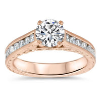Channel Set Diamond Wedding Set - Channel 8 Set - Moissanite Rings