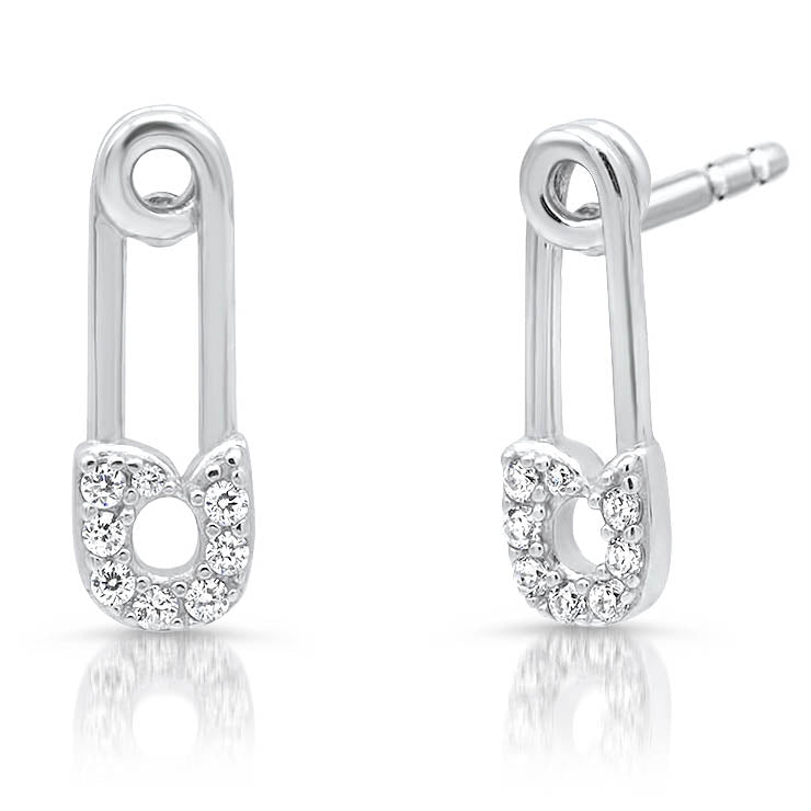 Diamond Safety Pin Earrings