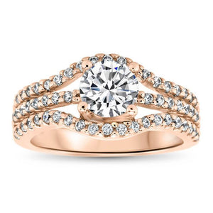 Triple Bands of Diamonds Engagement Ring - Dee - Moissanite Rings