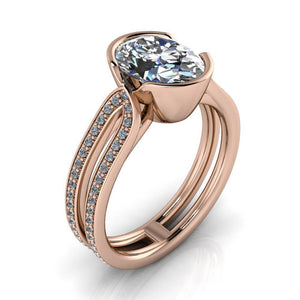 Bezel Set Oval Engagement Ring - Sebastian - Moissanite Rings