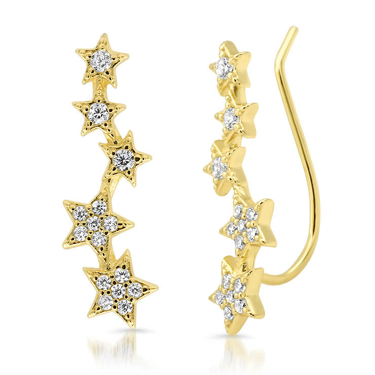 Pave Star Climber Earrings