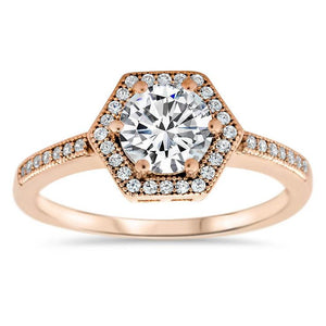 Hexagon Shaped Diamond Halo Moissanite Center Engagement Ring - Glam - Moissanite Rings