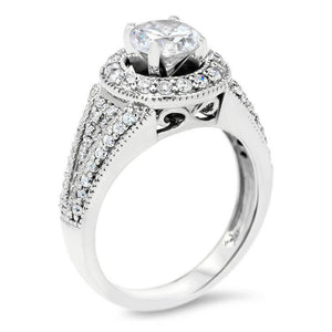 Forever One Moissanite Vintage Diamond Halo Engagement Ring - Kendall - Moissanite Rings
