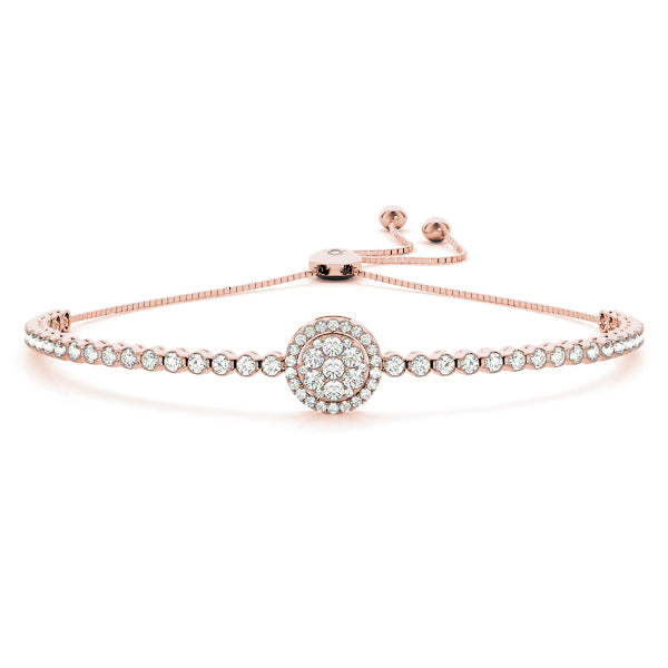 Diamond Cluster Bolo Bracelet Round Illusion Center