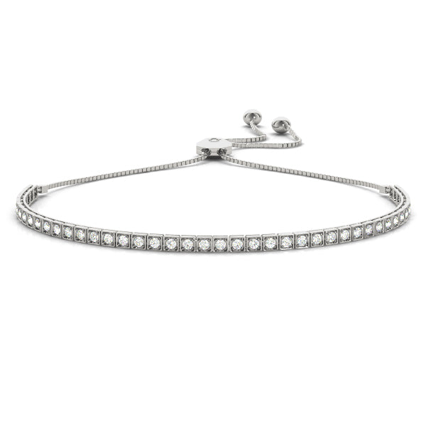 Square Bezel Round Diamond Tennis Bracelet
