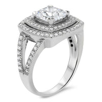 Split Shank Cushion Cut Double Diamond Halo Moissanite Engagement Ring - Ilona - Moissanite Rings