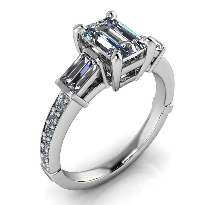 Emerald Cut Moissanite and Diamond Engagement Ring - Becker - Moissanite Rings