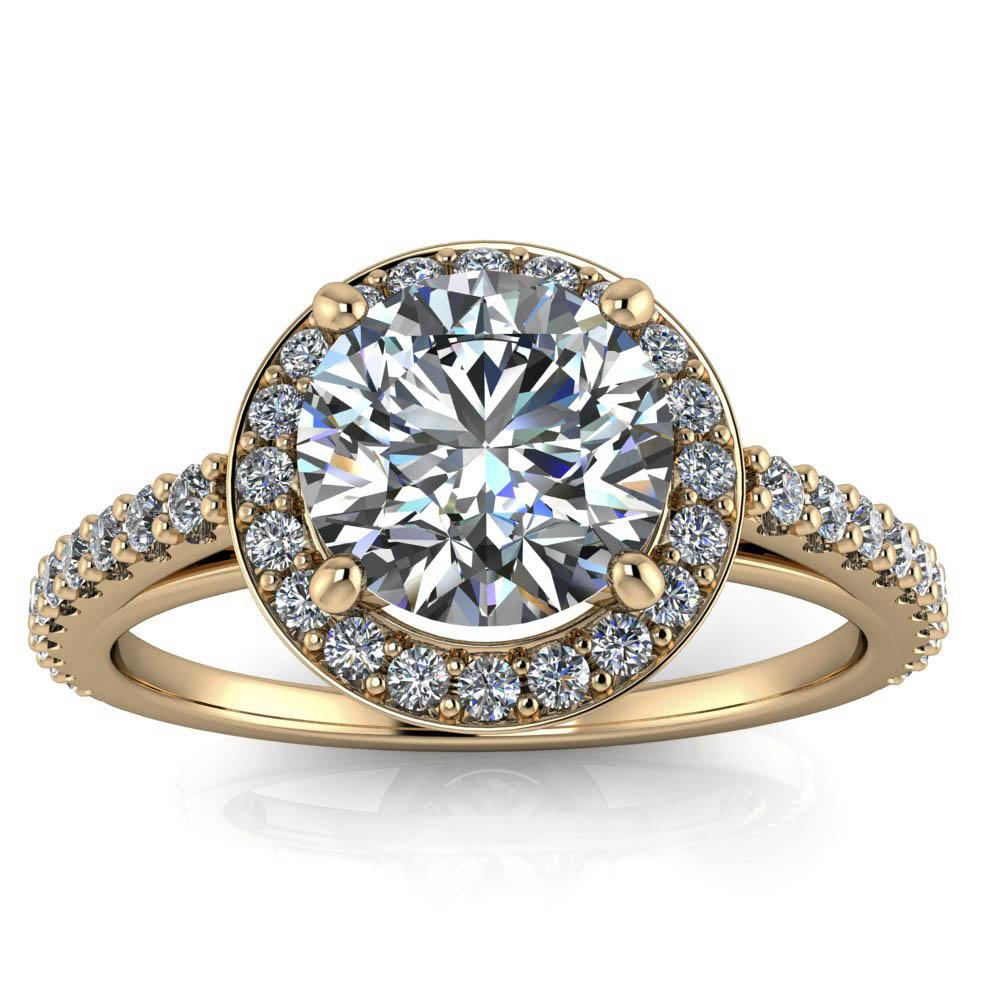 Diamond Halo Engagement Ring - Quinn - Moissanite Rings