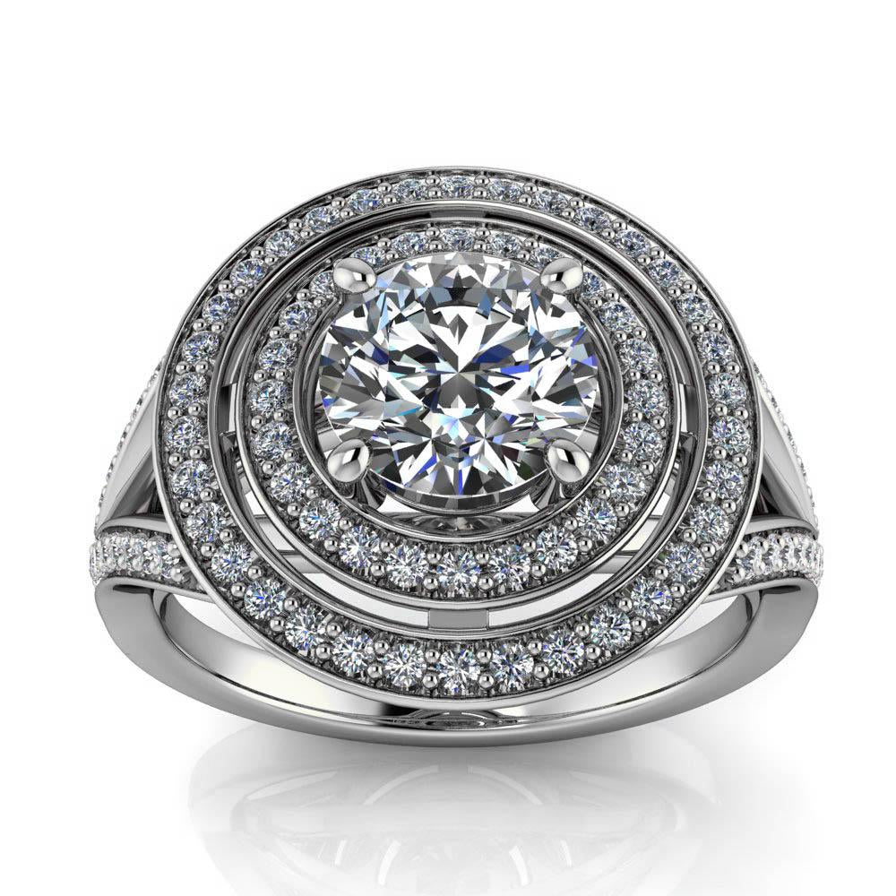 Double Halo Split Shank Engagement Ring  - Pandora - Moissanite Rings