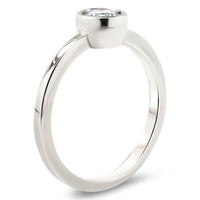 Round Forever One Moissanite Engagement Ring Bezel Set Ring - Ronda