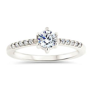 Thin Diamond Band Engagement Ring Six Prong Petite Moissanite Center Stone - Sara