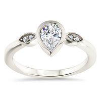 Pear Moissanite Engagement Ring Diamond Setting Moissanite Ring - Avery