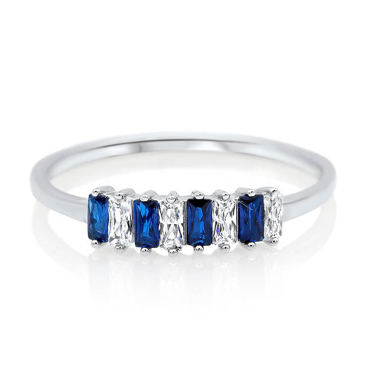 Blue Sapphire and Diamond Baguette Ring