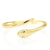 Solid Gold Snake Ring Diamond Eyes
