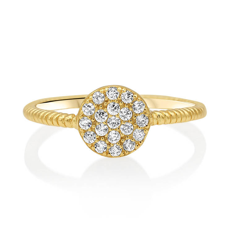 Pave Cluster Disc Ring