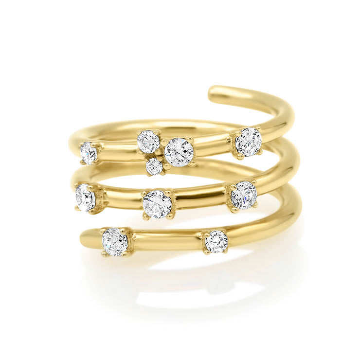 Spring Style Gold and Diamond Ring