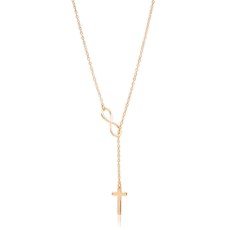 Gold Cross Infinity Lariat Necklace