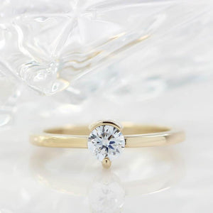 Simple Solitaire Engagement Ring Half Bezel Single Prong Moissanite Engagement Ring - Clara
