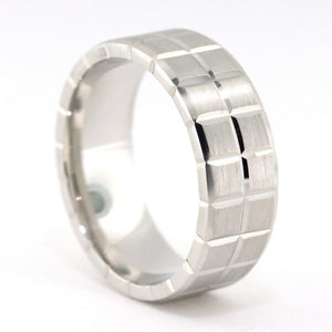 Men's Wedding Band - Abe - Moissanite Rings