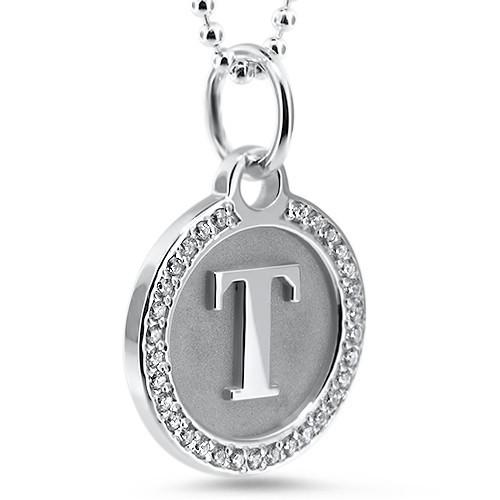 Personalized Initial Diamond Necklace - Moissanite Rings