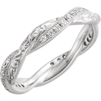 Twisted Engraved Diamond Eternity Band - Moissanite Rings