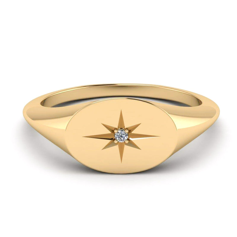 14k Gold Oval Signet Diamond Center