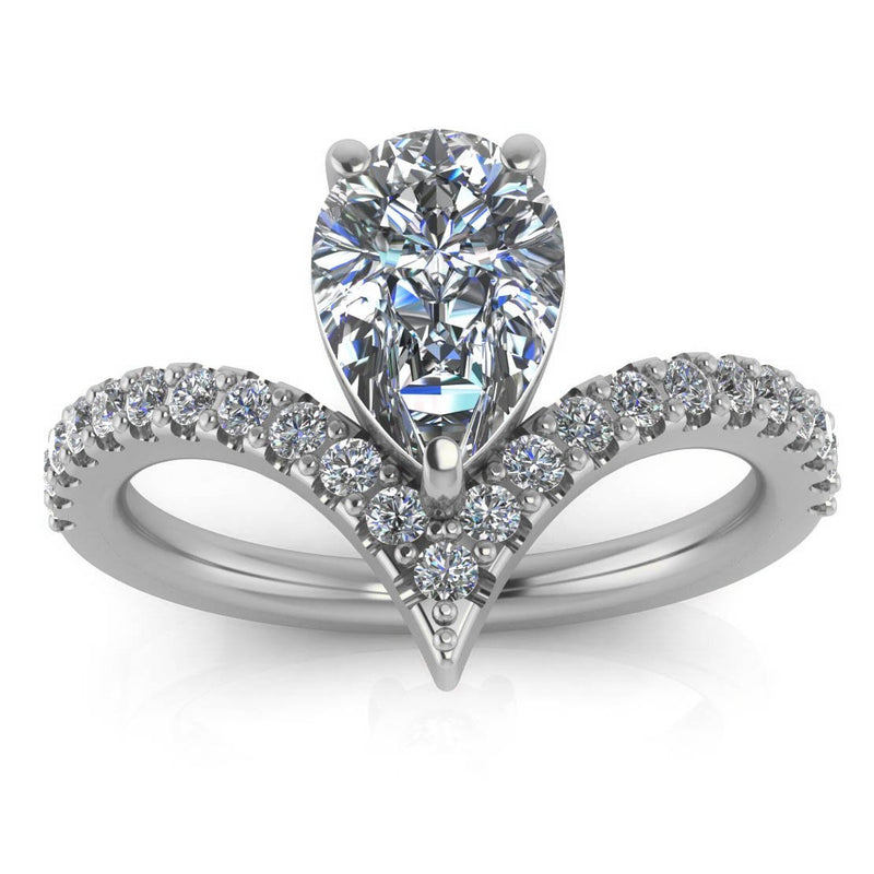Pear Moissanite Engagement Ring Diamond Setting - Riviera - Moissanite Rings