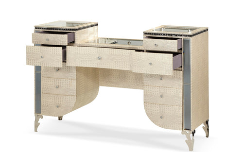 AICO Hollywood Swank Upholstered Vanity in Crystal Croc 03058-09 image