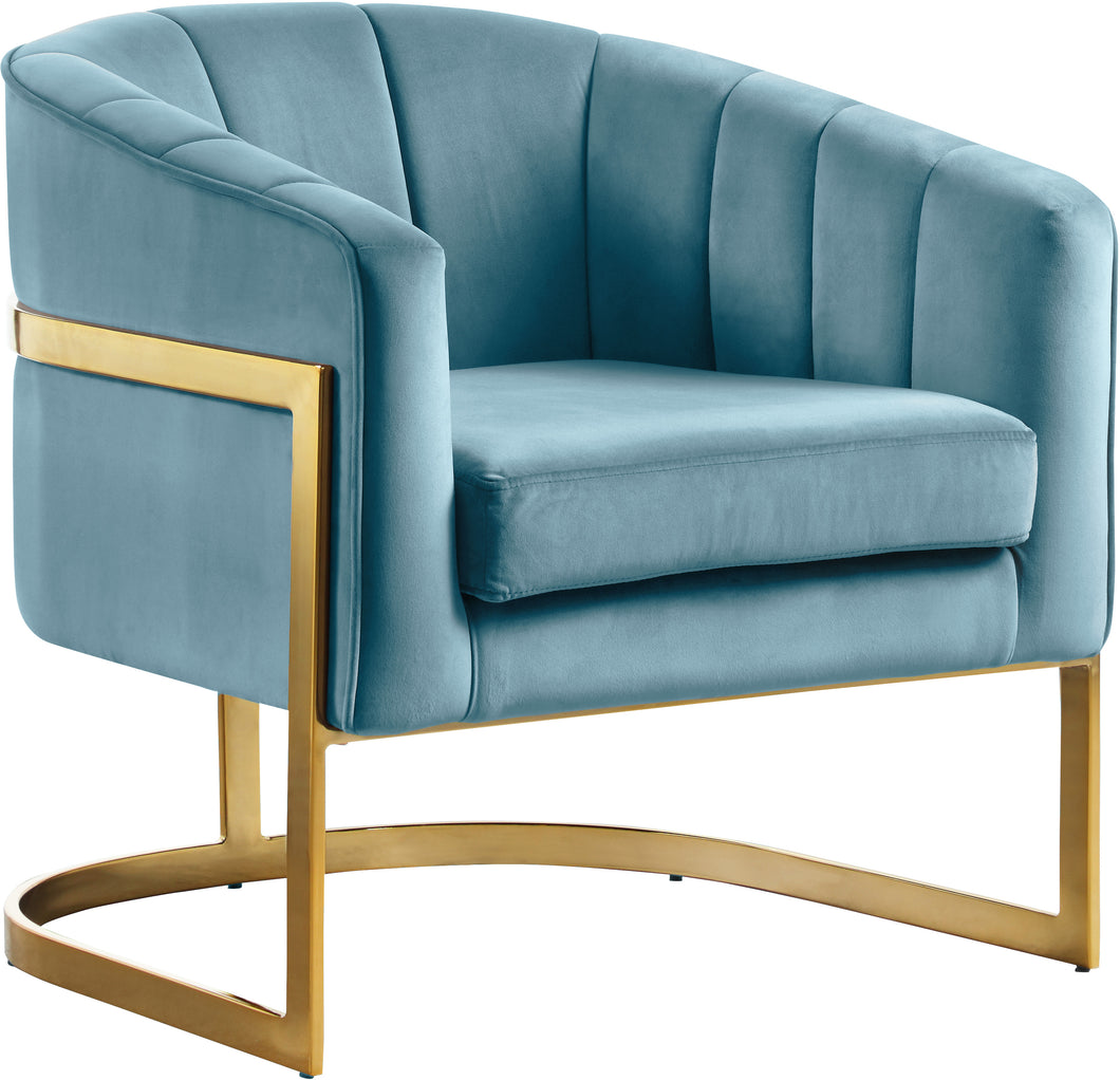 Carter Aqua Velvet Accent Chair