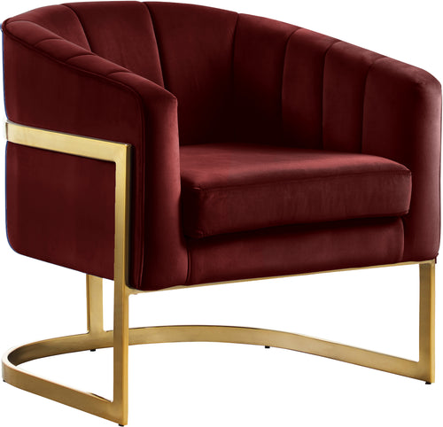 Carter Burgundy Velvet Accent Chair