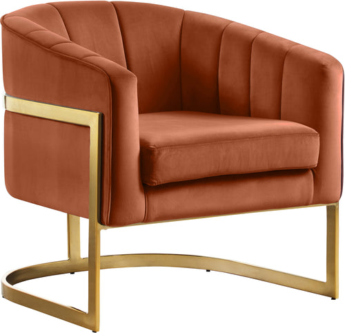 Carter Cognac Velvet Accent Chair