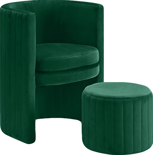 Selena Green Velvet Accent Chair and Ottoman Set