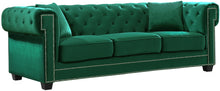 Load image into Gallery viewer, Bowery Green Velvet Sofa