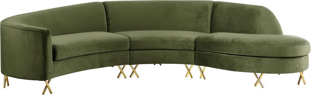 Serpentine Olive Velvet 3pc. Sectional