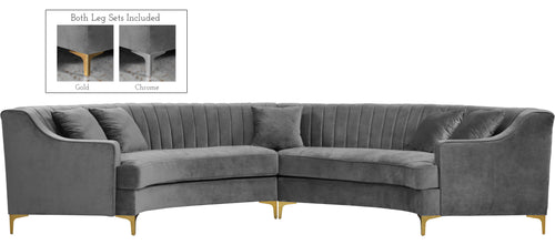 Jackson Grey Velvet 2pc. Sectional image