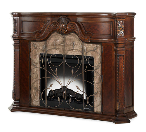 AICO Windsor Court 2pc Fireplace w/Insert, Heater and LED Lights in Vintage Fruitwood image