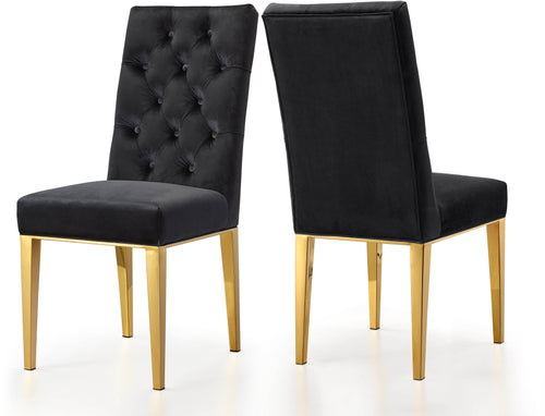Capri Black Velvet Dining Chair