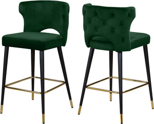 Kelly Green Velvet Stool