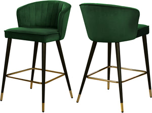Cassie Green Velvet Stool