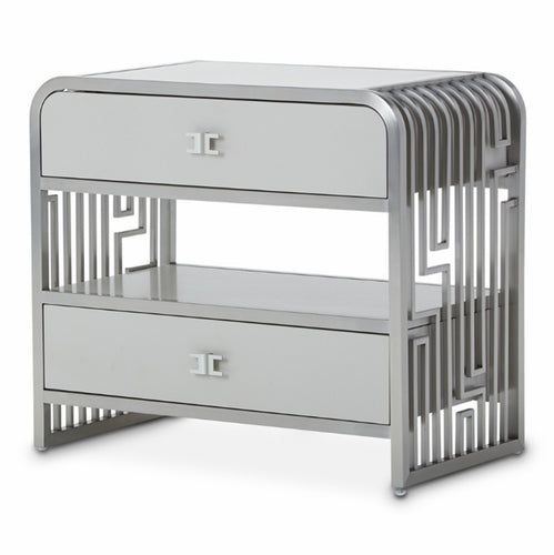 AICO Roxbury Park 2 Drawer Nightstand in Stainless Steel 9006042-13 image