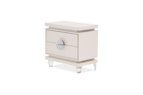 AICO Glimmering Heights Upholstered Nightstand in Ivory 9011040-111 image