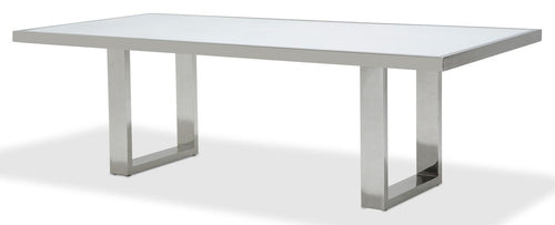 Aico State St Rectangular Dining Table with Glass Top in Glossy White 9016000-116 image