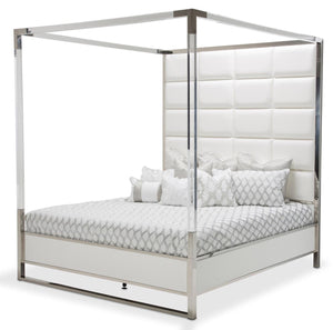 Aico State St California King Metal Canopy Bed in Glossy White 9016000CK4-116 image