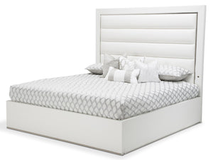 Aico State St California King Upholstered Panel Bed in Glossy White 9016000CKP-116 image