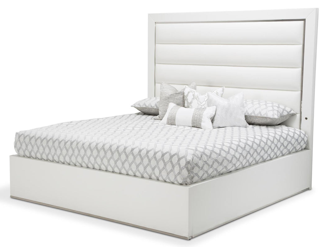 Aico State St King Upholstered Panel Bed in Glossy White 9016000EKP-116 image