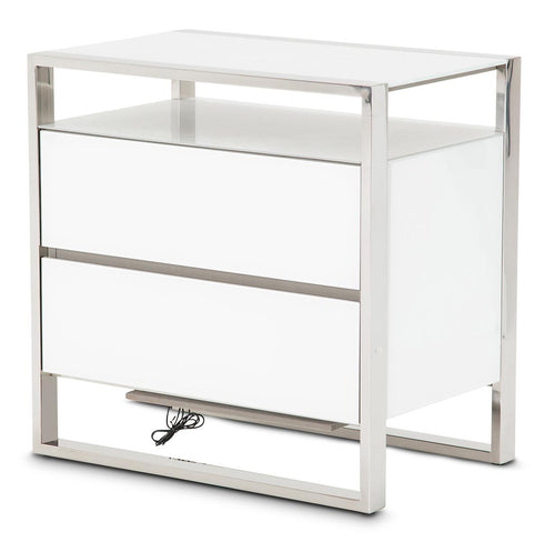 Aico State St Metal Nightstand with LED Lights in Glossy White 9016040-116 image