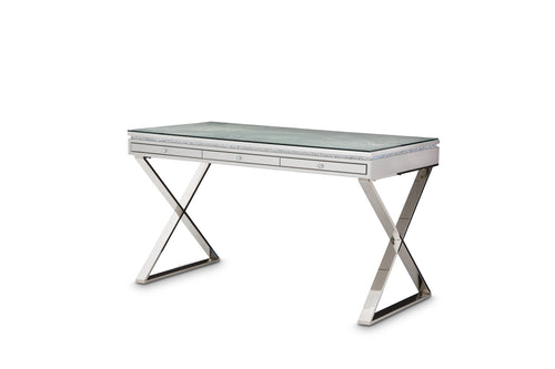 AICO Melrose Plaza Writing Desk with Glass Top in Dove 9019277-217-118 image
