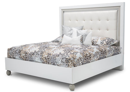 AICO Sky Tower King Upholstered Platform Bed in White Cloud image