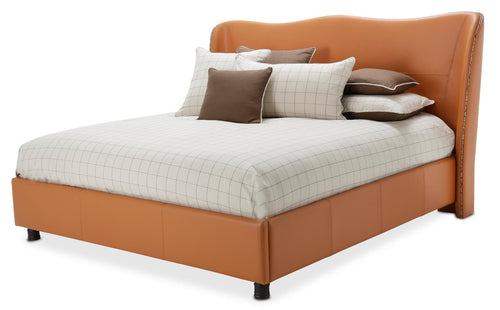 Aico 21 Cosmopolitan Queen Upholstered Wing Bed in Orange 9029000QN-812 image
